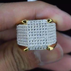 New Micro Pave Gold Diamond Men's ICEY Ring Sz 8 9