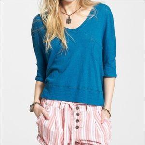 Free People Linen Blend Crescent Moon Blouse Shirt