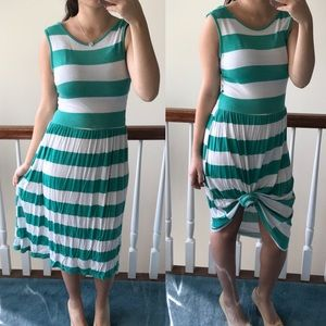 Green striped vacation dress pool beach cover up