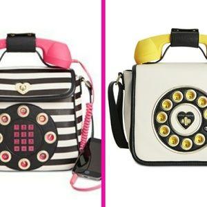2 Betsey Johnson Phone Bags Striped Emoji