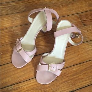 J. Crew blush heeled sandals with ankle strap