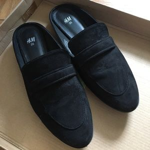 H&M Black Backless Loafers