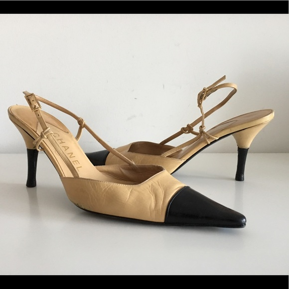 d4bdd7655b CHANEL Shoes | Beige Leather Black Cap Toe Slingback Pumps | Poshmark