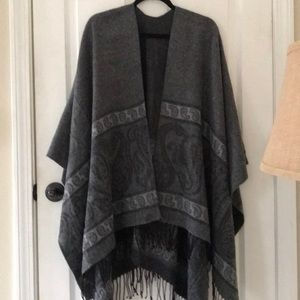Jackets & Blazers - Blanket wrap in greys with black fringe, NEW