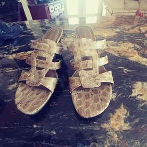 Cream/Tan Animal Embossed High Heels Naturalizer