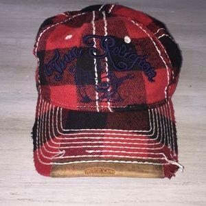 True Religion Distressed Flannel Trucker Hat