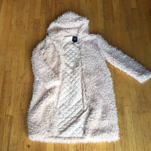 Baby pink fuzzy duster jacket