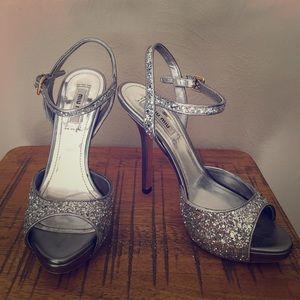 Mui Mui Silver sparkly platform stiletto Heels 6.5