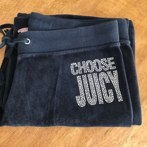 EUC juicy couture velour sweat pants bling medium