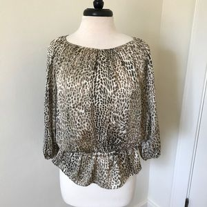 Silky cheetah animal print top