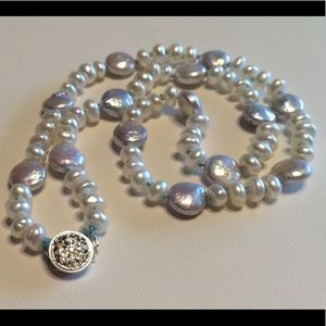 Icey blue coin pearls
