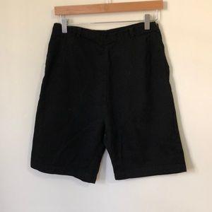 Vintage Black High-waisted Chambray Shorts