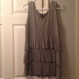 Gray ruffled tunic