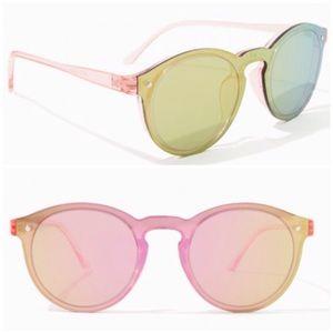 Translucent Iridescent Round Lens Pink Sunglasses