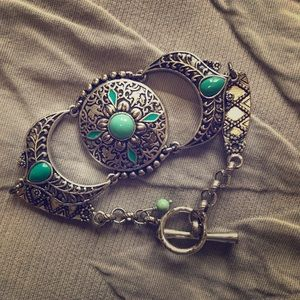 Lucky Brandy Toggle Bracelt with Turquoise Accents