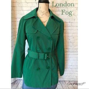 London Fog green raincoat, size Small