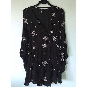 Free People Black Jasmine Embroidered Mini Dress
