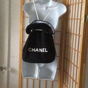 Chanel Drawstring Backpack/ Makeup Bag w/ mirror