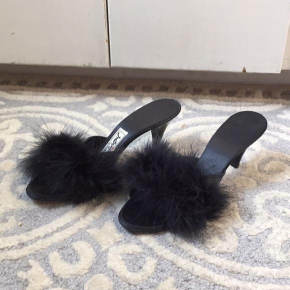 4814329986aa7 Vintage Daniel Green Black Feather Boudoir Slipper
