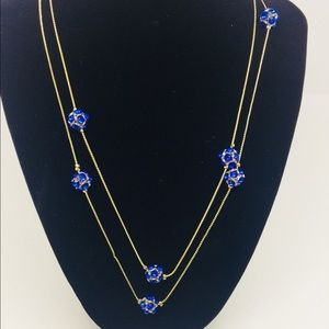 Blue and gold costume necklace.