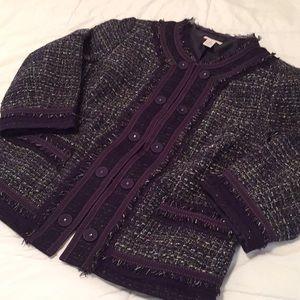 Chico's Purple 3/4 Sleeve, Textured Jacket