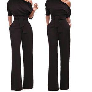 XL black jumpsuit with tie