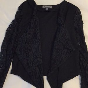 Black jacket with lace sleeves