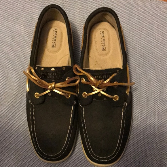 Sperry Shoes   Black And Gold Sperrys
