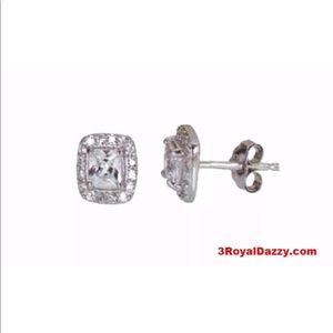 14k white gold layer Princess Silver  Earring