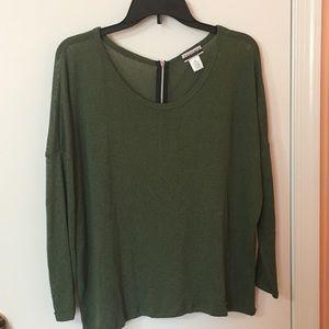 NWOT Olive Green Zipper Back Sweater