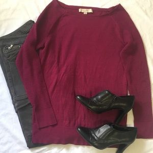 Loft Magenta Sweater with Arm Detailing
