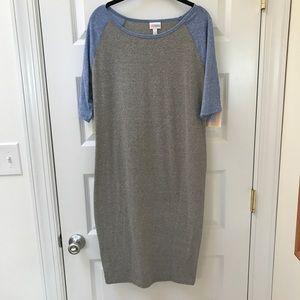 NWT LulaRoe Julia Dress Grey + Blue