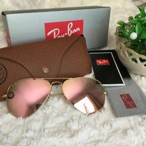 62mm rose gold lens Ray Bans aviator sunglass