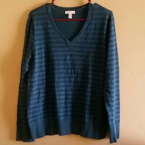 Womans plus size teal blue striped shimmer sweater