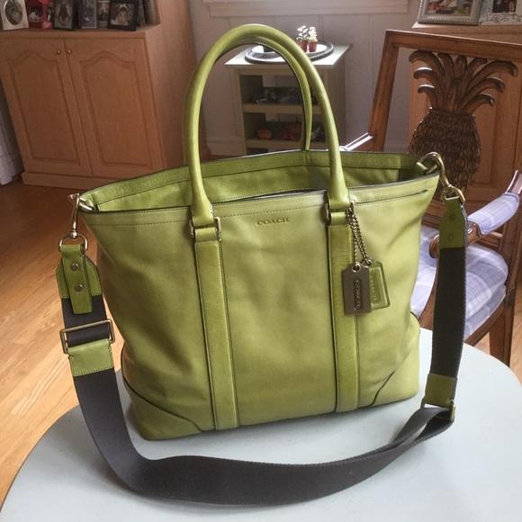 coach bags bleecker legacy business tote 70600 in lime poshmark rh poshmark com
