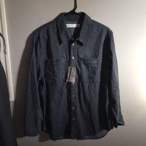 NWT -ASOS Denim collared shirt- gray- size 12