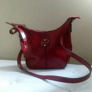 Franco Sarto Leather Crossbody Handbag, Red
