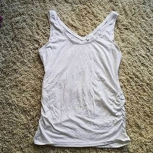 White maternity tank with side roush