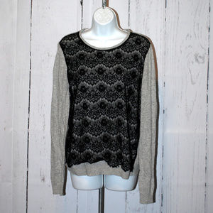 Topshop Lace Overlay lightweight sweater size 10