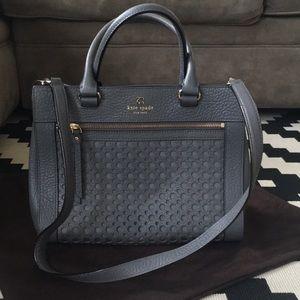 Grey hand bag with optional shoulder strap