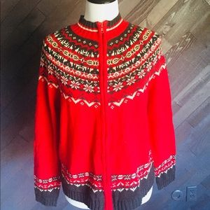 Red Zip Up Patterned Sweater 🧣