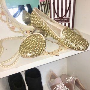 Steve Madden Gold Studded Loafers