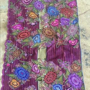 Handmade Mexican Embroidered runner shawl decor