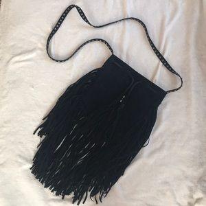 Black fringe cross body