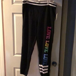 Joggers with love wording down leg