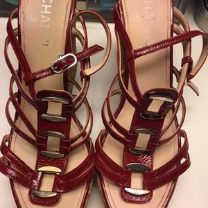 CHANEL Red Patent Leather Wedge Sandals EUR 42