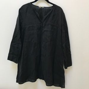 Eileen Fisher Linen Popover Top Black