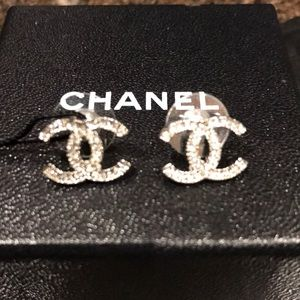 Chanel CC Logo crystal earrings new