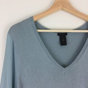 Ann Taylor V-neck Sweater w/ Sheer Sleeves
