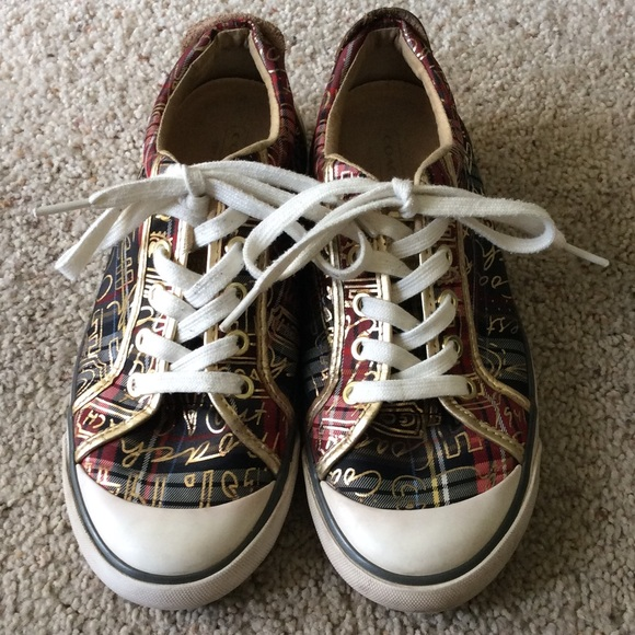 df423355b08 Coach Shoes - Coach Barrett Sneakers. Gold Graffiti. Size 7.5.